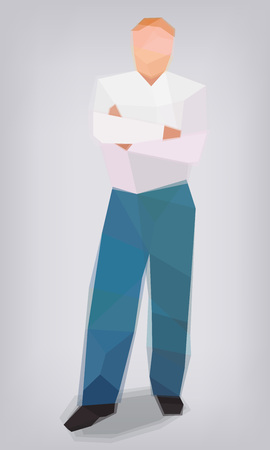 Male cross hands business the verge of stylization vector illustration