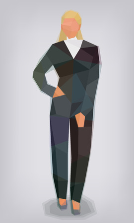 Woman in black suit business facets styling vector illustration Ilustrace
