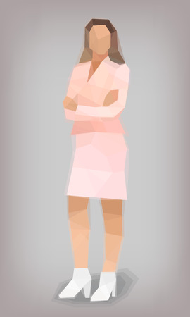 Woman in a pink suit face stylization vector illustration Standard-Bild - 112436332