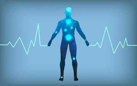 Medicine man faceted volume cardiogram, vector illustration Standard-Bild - 112436334