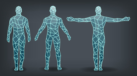 People posture, the amount of edge glow outline, vector illustration