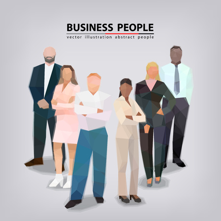 Group of business people, different posture, faces vector illustration