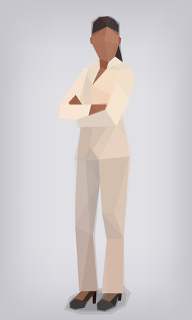 Woman in white suit with arms crossed, work vector illustration