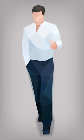 Stylized man, business, temperament facets, vector illustration