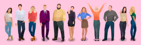 Group of people standing in a row, modern vector illustration Ilustração