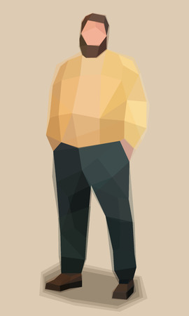 Big man in sweater, watercolor cubism vector illustration