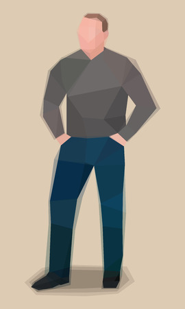 Man in grey sweater, watercolor cubism vector illustration