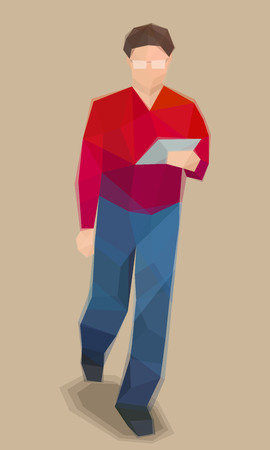 Man with tablet, goes to work, vector illustration
