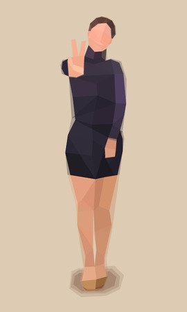 Girl in dress, greeting sign, vector illustration Ilustrace