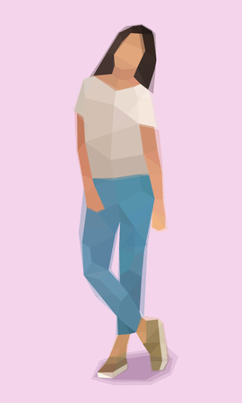 Girl, relaxed pose, vector illustration
