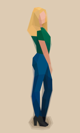 Girl, sideways, watercolor cubism vector illustration Ilustrace