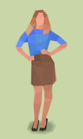 girl, hands on hips, watercolor cubism vector illustration