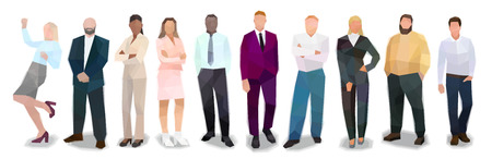 Group of people business suits, stand in a row, vector illustration Ilustrace