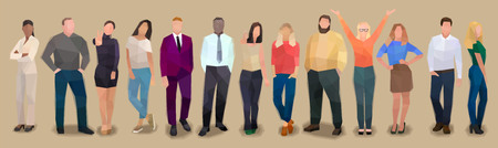 Group of modern different people in a row, retro watercolor volume vector illustration