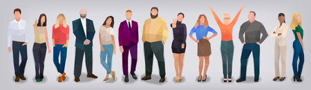 Company of people on grey background, vector illustration