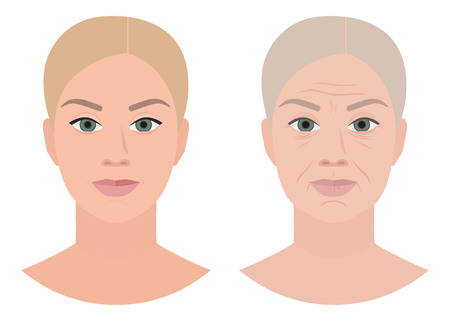 Old young face, cosmetology, anti age, vector illustration Ilustrace