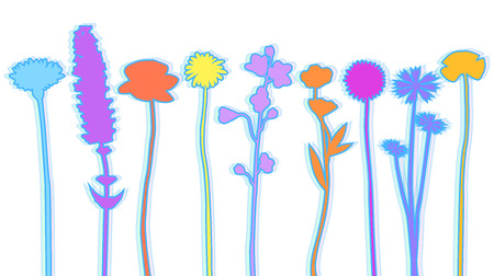 Different wildflowers abstract silhouette vector illustration
