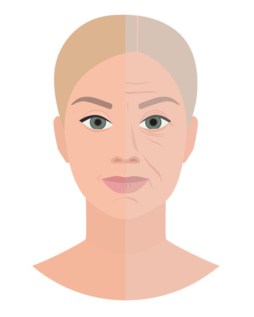 Anti age medicine, old young face, vector illustration