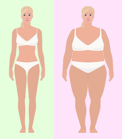 Girl skinny thick, flat style, vector illustration