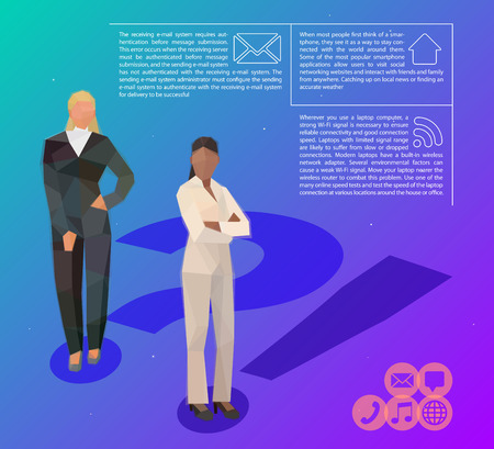 Girls consultant help vector space background illustration