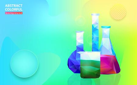 Four colorful vessel flask on bright medicine background, vector illustration 向量圖像