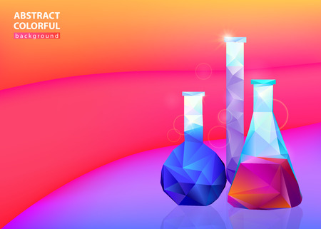 Three colorful vessel flask on bright medicine background, vector illustration