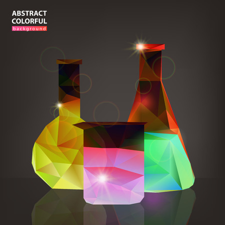 Three colorful vessels on a dark medicine background, vector illustration Standard-Bild - 128230731