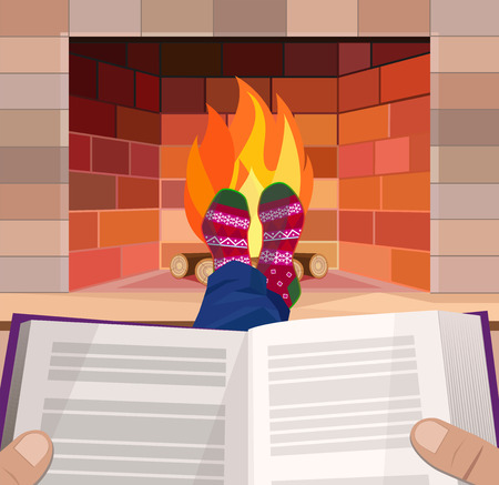 Man with a book by the fireplace, Christmas, vector illustration