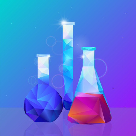 Science, different vessels study. Vector illustration Standard-Bild - 126038934