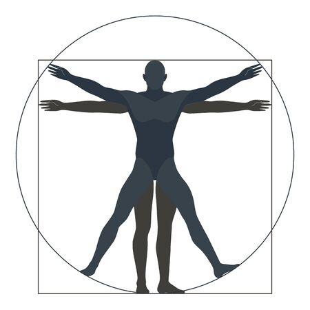 Uomo vitruviano, sagoma. la forma moderna, illustrazione vettoriale Vettoriali