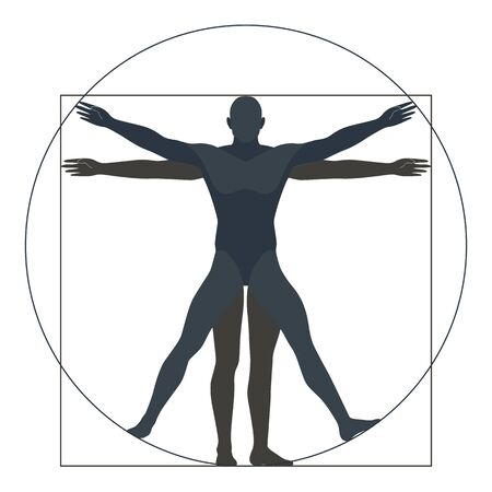 Vitruvian man, silhouette. the modern form, vector illustration Standard-Bild - 128234130