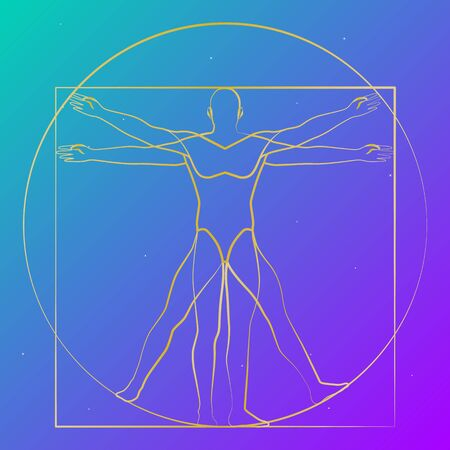 Vitruvian man starry sky, modern shape, vector illustration
