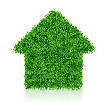 Green house, lawn grass, ecology construction, vector illustration Standard-Bild - 128234120