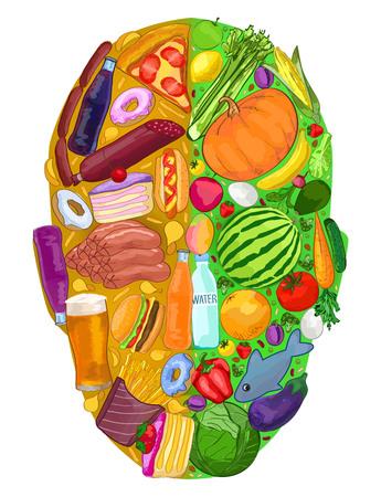 Human head food useful harmful diet food, vector illustration 일러스트