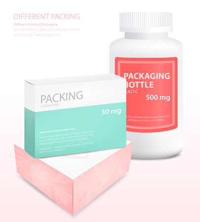 Different types of packaging, box, jar, vector illustration