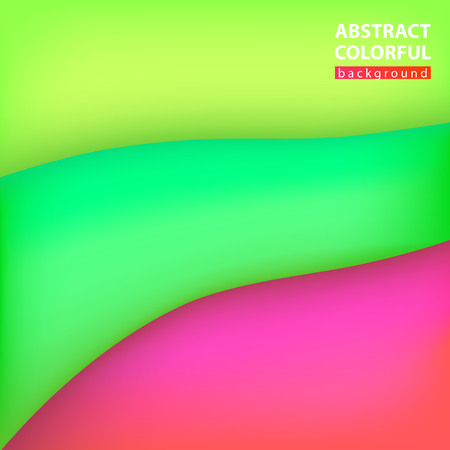 Abstract background green, pink. Wave three-dimensional, vector illustration