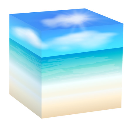 Sea squared. A cube. The beach. Vector illustration Illustration