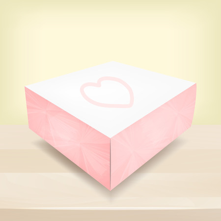 Pink box with heart, packaging, vector illustration 일러스트