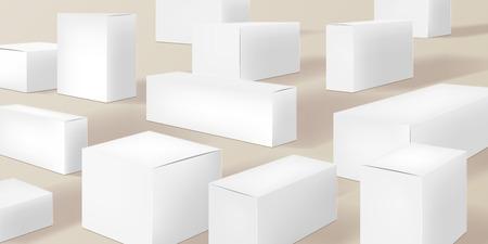 White cardboard boxes, set of illustrations, background vector illustration