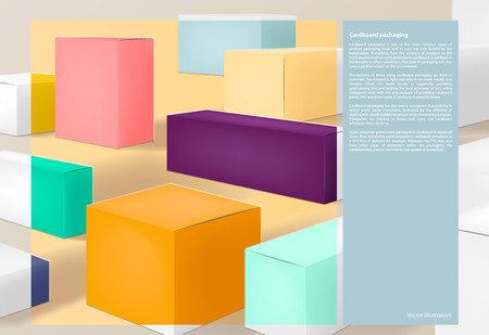 Colorful packaging, page design background vector illustration