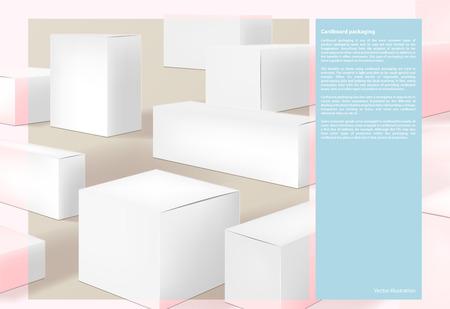 Cardboard packaging, page, design background vector illustration 向量圖像