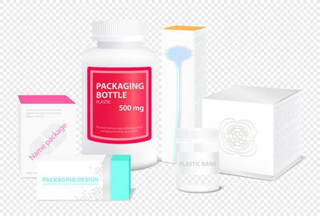Packaging of various shapes, on a transparent background vector illustration