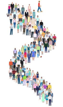 Many different people stand in line, vector illustration design