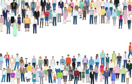 Many different people, group,  place for text, vector illustration design Stock Illustratie
