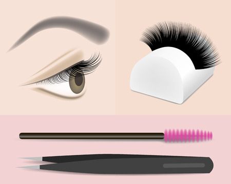 Eyelash extension, stand brush tweezers tool, vector illustration