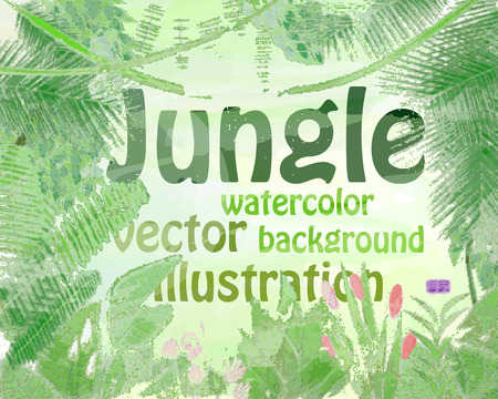 Jungle watercolor, background, plants, trees, flowers, vector illustration