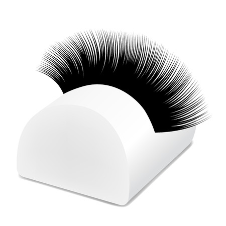 Artificial eyelashes packaging, stand, object vector illustration Çizim