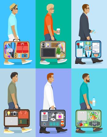 People with suitcase, businessman, traveler, doctor, designer, icon set, flat design, vector illustration 일러스트