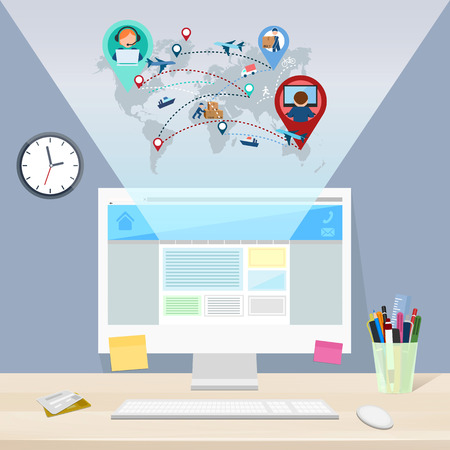 Web site delivery, working space, vector illustration