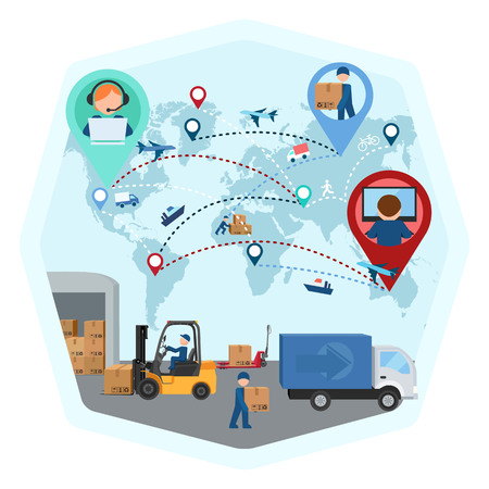 Delivery of goods around the world, production business, vector illustration Illustration